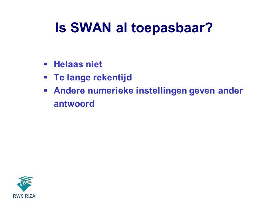 RWS RIZA Is SWAN al toepasbaar.