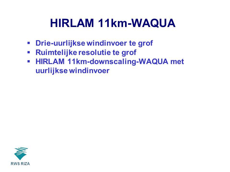 RWS RIZA HIRLAM 11km-WAQUA  Drie-uurlijkse windinvoer te grof  Ruimtelijke resolutie te grof  HIRLAM 11km-downscaling-WAQUA met uurlijkse windinvoer