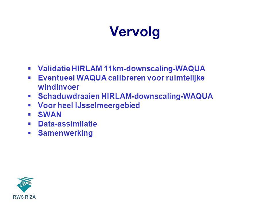 RWS RIZA Vervolg  Validatie HIRLAM 11km-downscaling-WAQUA  Eventueel WAQUA calibreren voor ruimtelijke windinvoer  Schaduwdraaien HIRLAM-downscaling-WAQUA  Voor heel IJsselmeergebied  SWAN  Data-assimilatie  Samenwerking