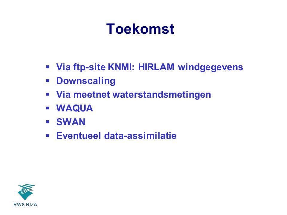RWS RIZA Toekomst  Via ftp-site KNMI: HIRLAM windgegevens  Downscaling  Via meetnet waterstandsmetingen  WAQUA  SWAN  Eventueel data-assimilatie