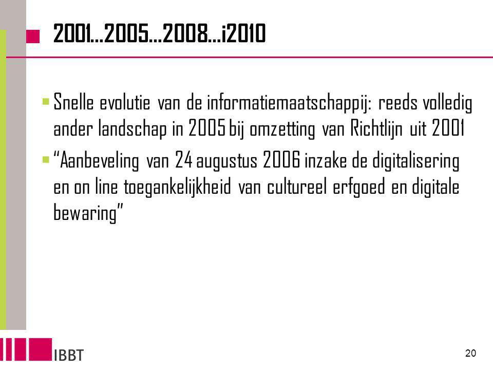 20 2001…2005…2008…i2010  Snelle evolutie van de informatiemaatschappij: reeds volledig ander landschap in 2005 bij omzetting van Richtlijn uit 2001  Aanbeveling van 24 augustus 2006 inzake de digitalisering en on line toegankelijkheid van cultureel erfgoed en digitale bewaring