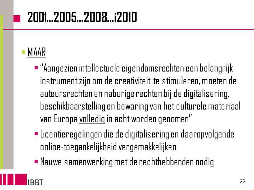 22 2001…2005…2008…i2010  MAAR  Aangezien intellectuele eigendomsrechten een belangrijk instrument zijn om de creativiteit te stimuleren, moeten de auteursrechten en naburige rechten bij de digitalisering, beschikbaarstelling en bewaring van het culturele materiaal van Europa volledig in acht worden genomen  Licentieregelingen die de digitalisering en daaropvolgende online-toegankelijkheid vergemakkelijken  Nauwe samenwerking met de rechthebbenden nodig