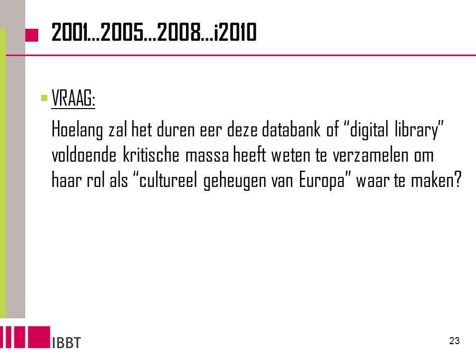 23 2001…2005…2008…i2010  VRAAG: Hoelang zal het duren eer deze databank of digital library voldoende kritische massa heeft weten te verzamelen om haar rol als cultureel geheugen van Europa waar te maken?