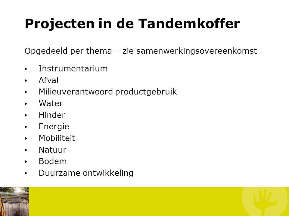 Projecten in de Tandemkoffer Opgedeeld per thema – zie samenwerkingsovereenkomst Instrumentarium Afval Milieuverantwoord productgebruik Water Hinder Energie Mobiliteit Natuur Bodem Duurzame ontwikkeling