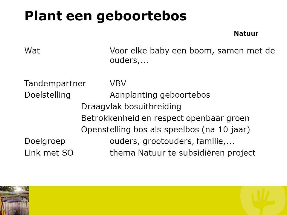 Plant een geboortebos Natuur WatVoor elke baby een boom, samen met de ouders,...