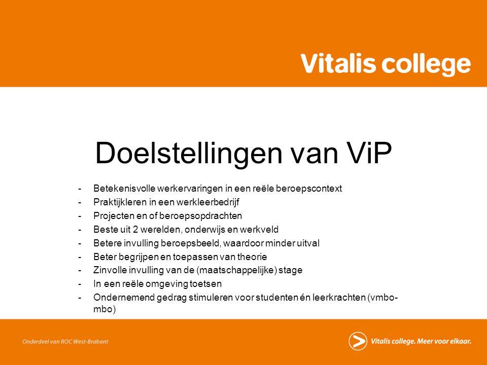 Doelstellingen van ViP -Betekenisvolle werkervaringen in een reële beroepscontext -Praktijkleren in een werkleerbedrijf -Projecten en of beroepsopdrac