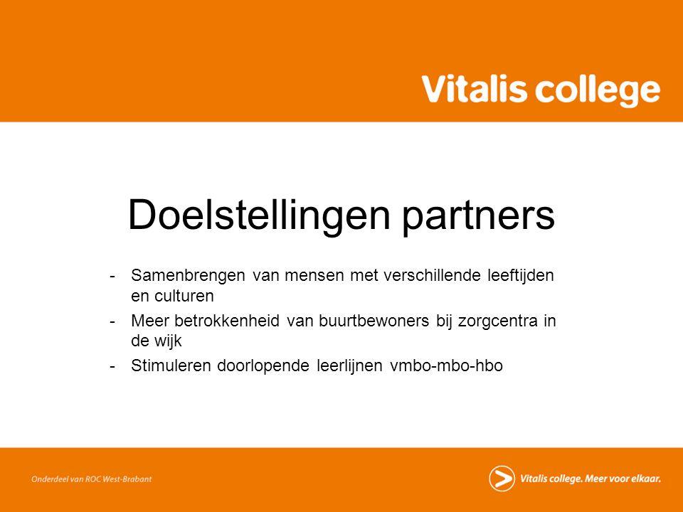 Doelstellingen partners -Samenbrengen van mensen met verschillende leeftijden en culturen -Meer betrokkenheid van buurtbewoners bij zorgcentra in de w
