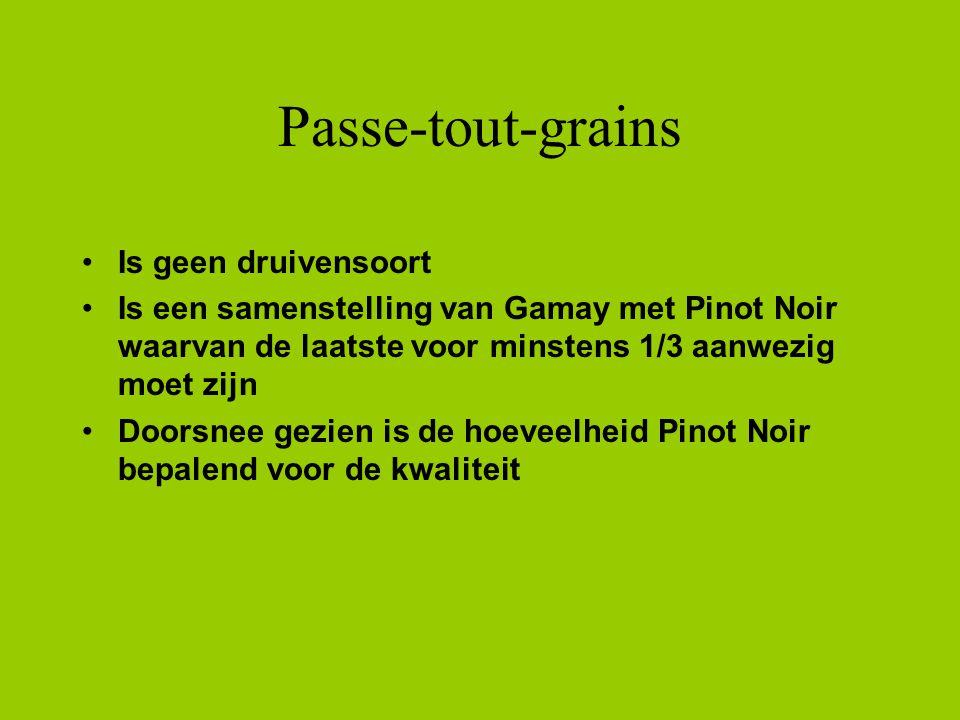 Passe-tout-grains Is geen druivensoort Is een samenstelling van Gamay met Pinot Noir waarvan de laatste voor minstens 1/3 aanwezig moet zijn Doorsnee