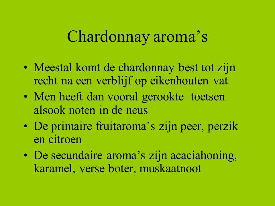 Chardonnay aroma's Meestal komt de chardonnay best tot zijn recht na een verblijf op eikenhouten vat Men heeft dan vooral gerookte toetsen alsook note