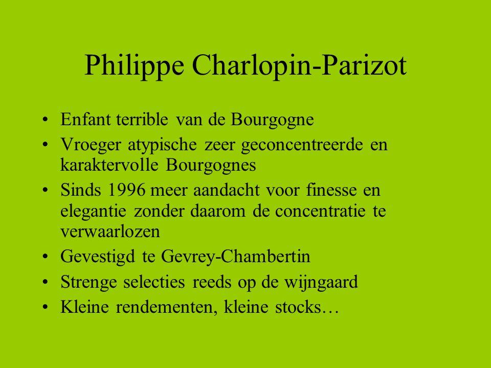 Philippe Charlopin-Parizot Enfant terrible van de Bourgogne Vroeger atypische zeer geconcentreerde en karaktervolle Bourgognes Sinds 1996 meer aandach