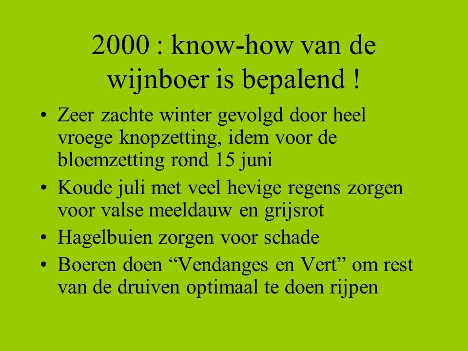 2000 : know-how van de wijnboer is bepalend ! Zeer zachte winter gevolgd door heel vroege knopzetting, idem voor de bloemzetting rond 15 juni Koude ju