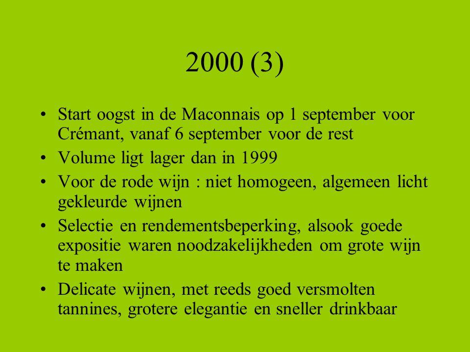 2000 (3) Start oogst in de Maconnais op 1 september voor Crémant, vanaf 6 september voor de rest Volume ligt lager dan in 1999 Voor de rode wijn : nie