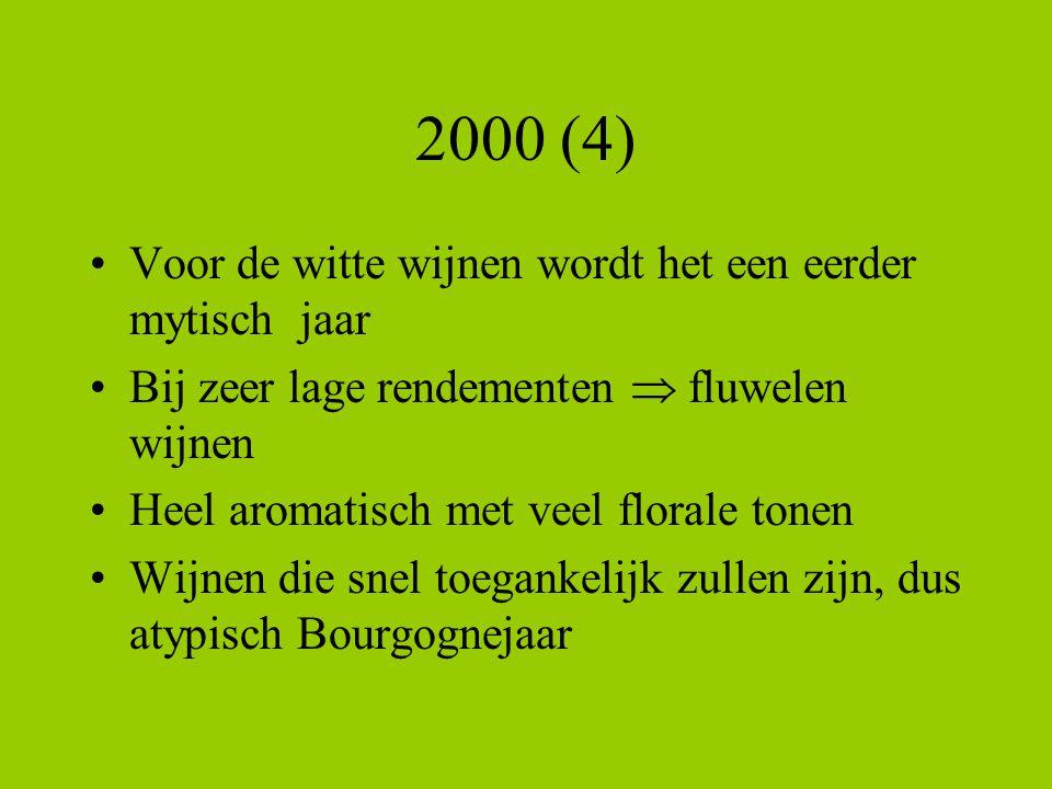 2000 (4) Voor de witte wijnen wordt het een eerder mytisch jaar Bij zeer lage rendementen  fluwelen wijnen Heel aromatisch met veel florale tonen Wij