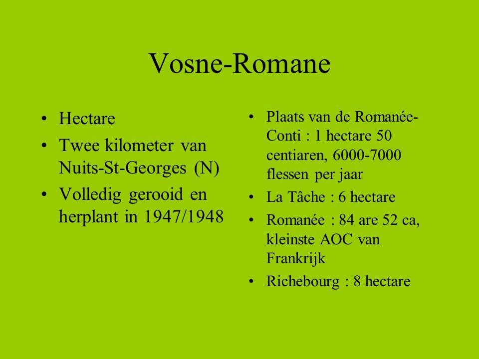 Vosne-Romane Hectare Twee kilometer van Nuits-St-Georges (N) Volledig gerooid en herplant in 1947/1948 Plaats van de Romanée- Conti : 1 hectare 50 cen