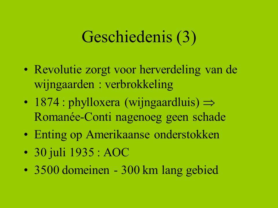 Geschiedenis (3) Revolutie zorgt voor herverdeling van de wijngaarden : verbrokkeling 1874 : phylloxera (wijngaardluis)  Romanée-Conti nagenoeg geen