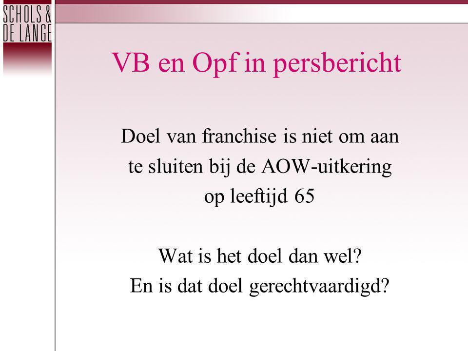 VB en Opf in persbericht Doel van franchise is niet om aan te sluiten bij de AOW-uitkering op leeftijd 65 Wat is het doel dan wel.