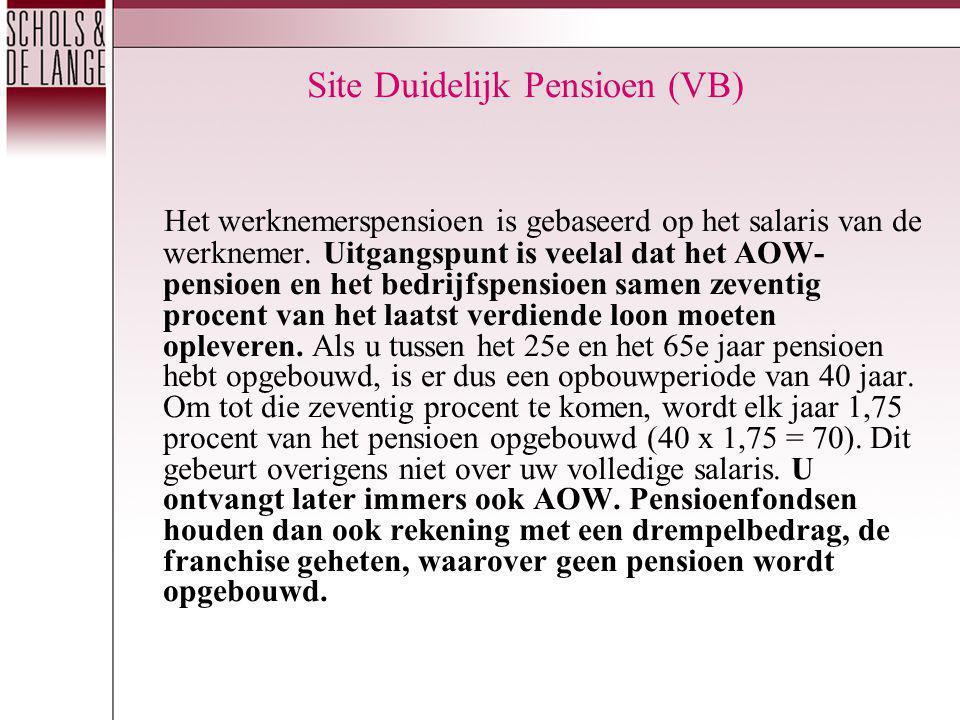 Site Duidelijk Pensioen (VB) Het werknemerspensioen is gebaseerd op het salaris van de werknemer. Uitgangspunt is veelal dat het AOW- pensioen en het