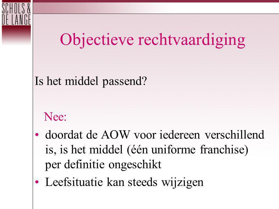 Objectieve rechtvaardiging Is het middel passend? Nee: doordat de AOW voor iedereen verschillend is, is het middel (één uniforme franchise) per defini