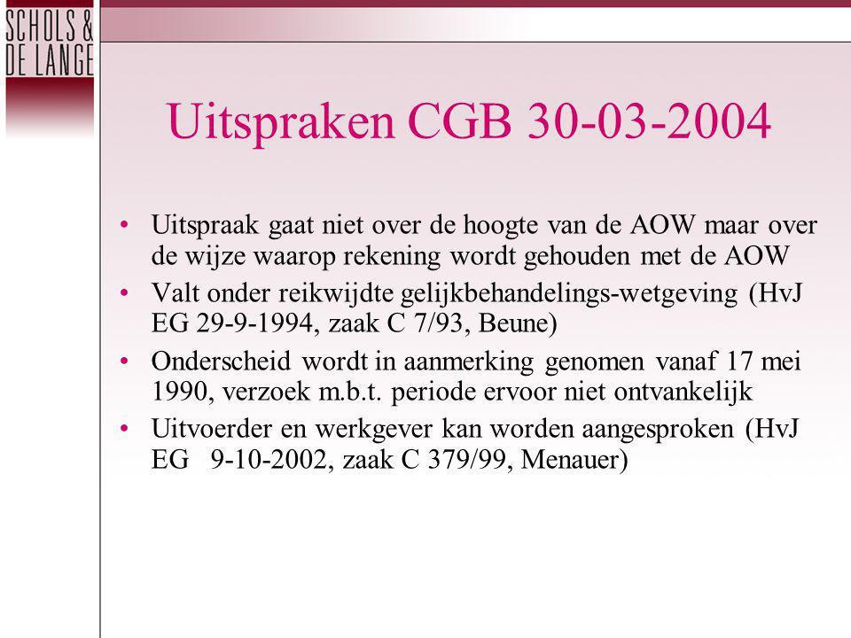 Uitspraken CGB 30-03-2004 Uitspraak gaat niet over de hoogte van de AOW maar over de wijze waarop rekening wordt gehouden met de AOW Valt onder reikwijdte gelijkbehandelings-wetgeving (HvJ EG 29-9-1994, zaak C 7/93, Beune) Onderscheid wordt in aanmerking genomen vanaf 17 mei 1990, verzoek m.b.t.