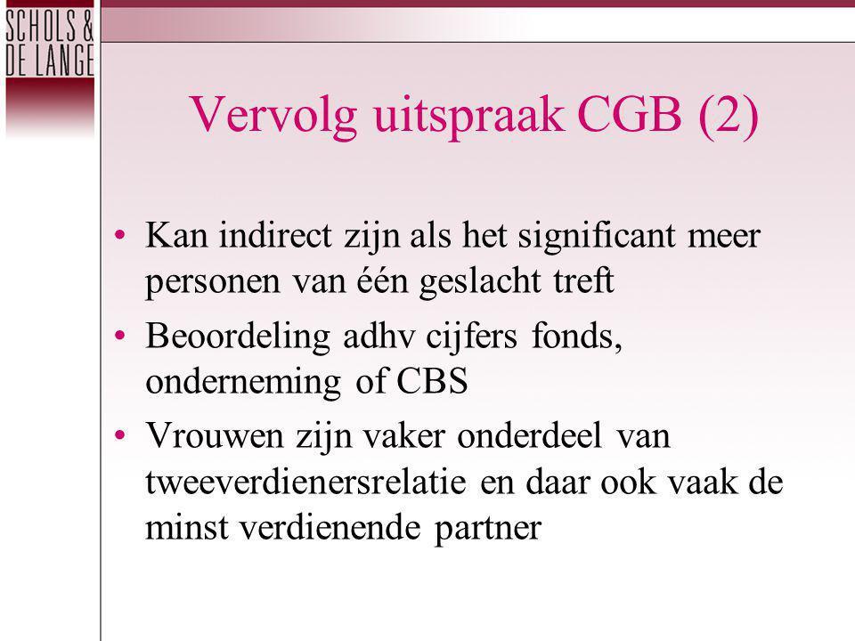 Vervolg uitspraak CGB (2) Kan indirect zijn als het significant meer personen van één geslacht treft Beoordeling adhv cijfers fonds, onderneming of CB