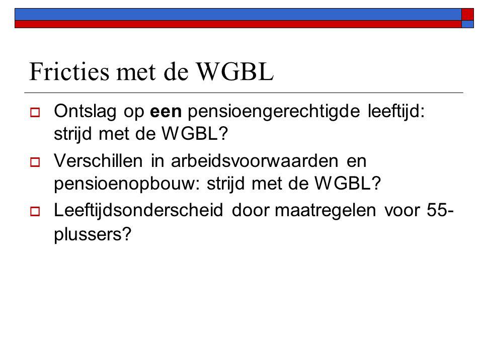 Fricties met de WGBL  Ontslag op een pensioengerechtigde leeftijd: strijd met de WGBL.