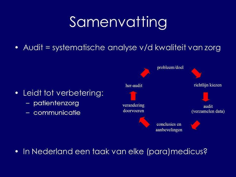 Samenvatting Audit = systematische analyse v/d kwaliteit van zorg Leidt tot verbetering: –patientenzorg –communicatie In Nederland een taak van elke (para)medicus?