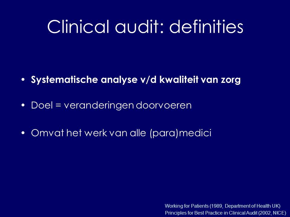 Clinical audit: definities Systematische analyse v/d kwaliteit van zorg Doel = veranderingen doorvoeren Omvat het werk van alle (para)medici Working for Patients (1989, Department of Health UK) Principles for Best Practice in Clinical Audit (2002, NICE)