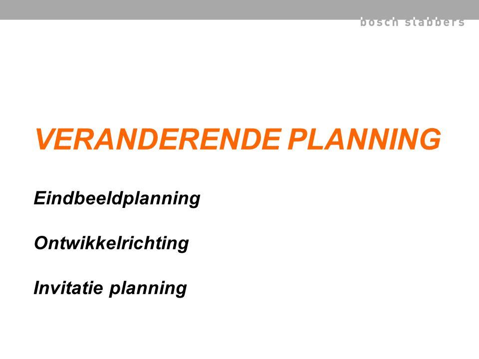 VERANDERENDE PLANNING Eindbeeldplanning Ontwikkelrichting Invitatie planning