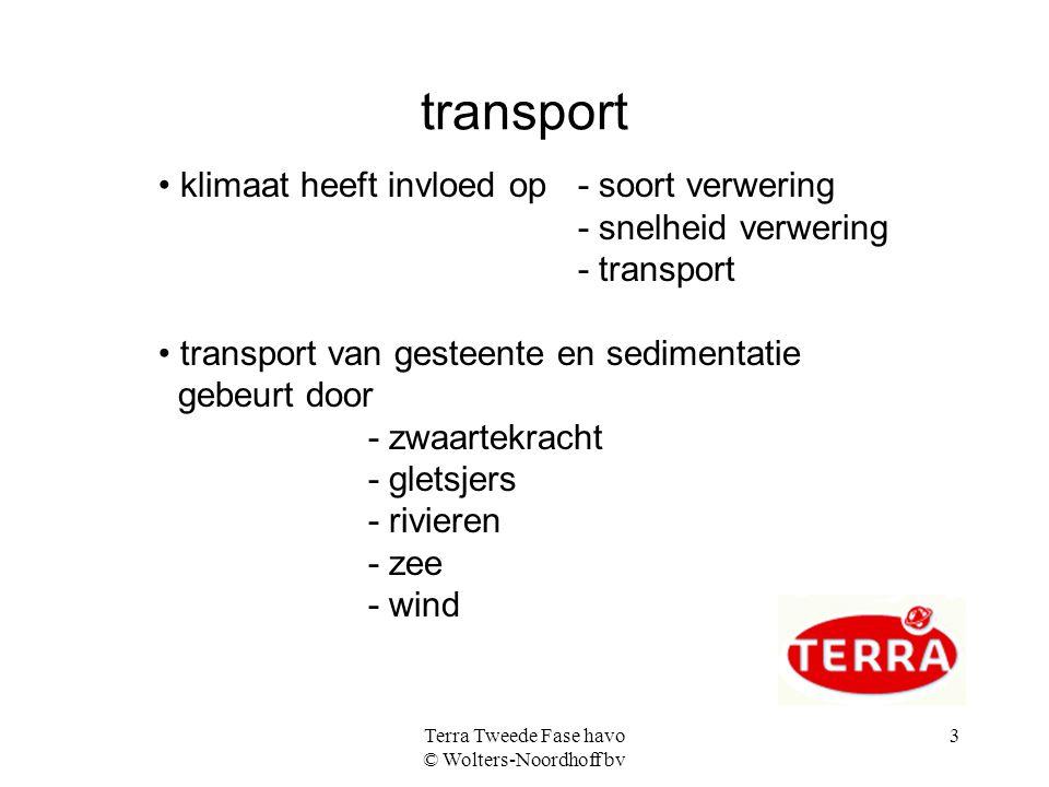 Terra Tweede Fase havo © Wolters-Noordhoff bv 3 transport klimaat heeft invloed op - soort verwering - snelheid verwering - transport transport van ge