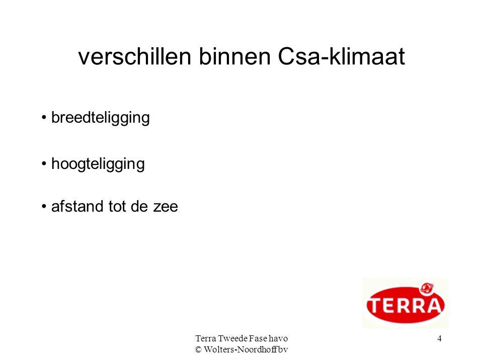 Terra Tweede Fase havo © Wolters-Noordhoff bv 4 verschillen binnen Csa-klimaat breedteligging hoogteligging afstand tot de zee