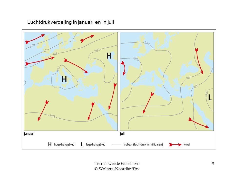 Terra Tweede Fase havo © Wolters-Noordhoff bv 9 Luchtdrukverdeling in januari en in juli