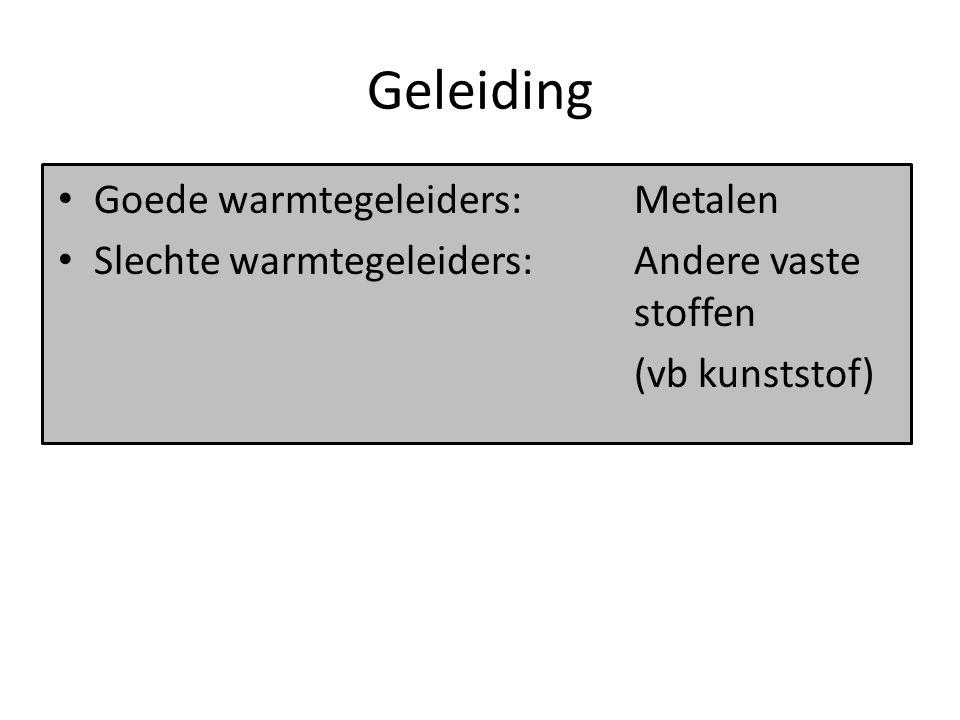 Stroming Stroming: – Warmte verplaatst zich samen met de stof (l of g) – Van een hoge naar een lage temperatuur