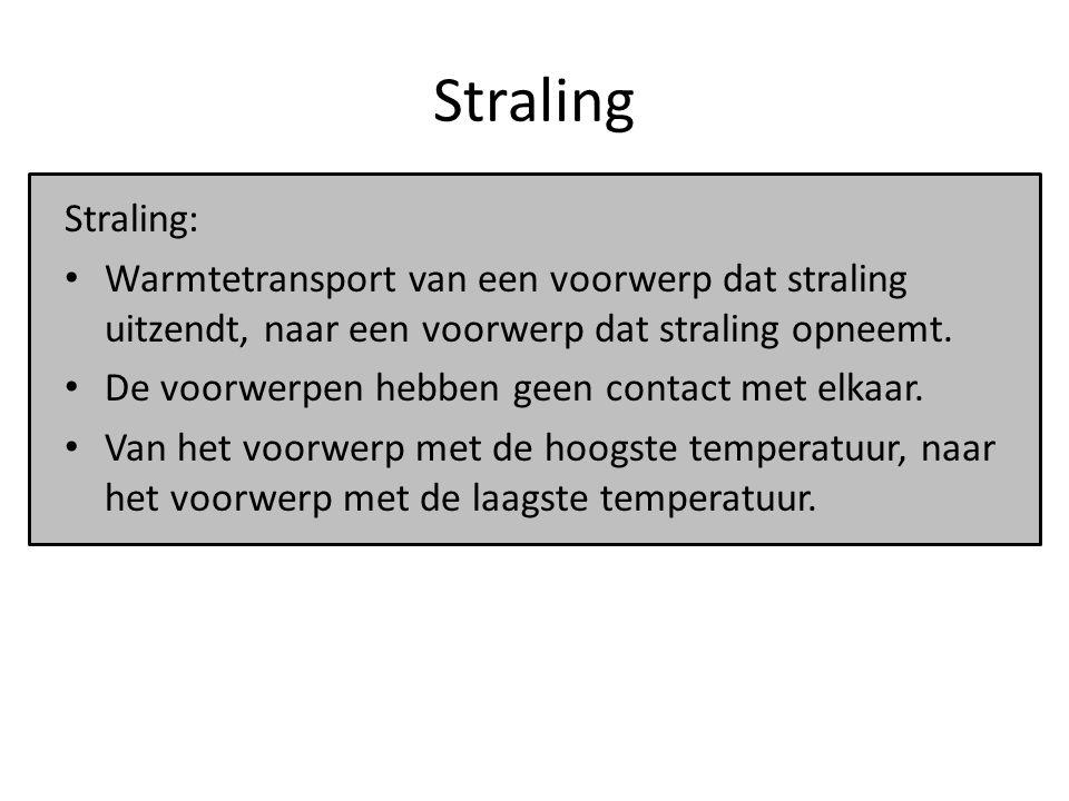 Straling Straling: Warmtetransport van een voorwerp dat straling uitzendt, naar een voorwerp dat straling opneemt. De voorwerpen hebben geen contact m