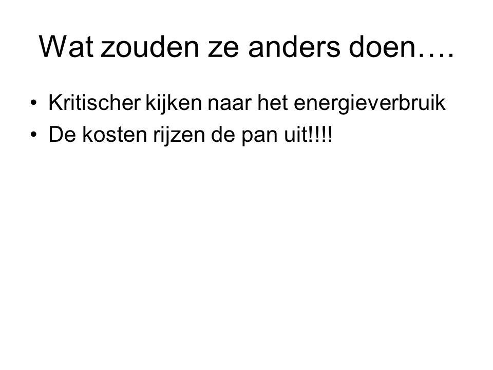 Wat zouden ze anders doen…. Kritischer kijken naar het energieverbruik De kosten rijzen de pan uit!!!!