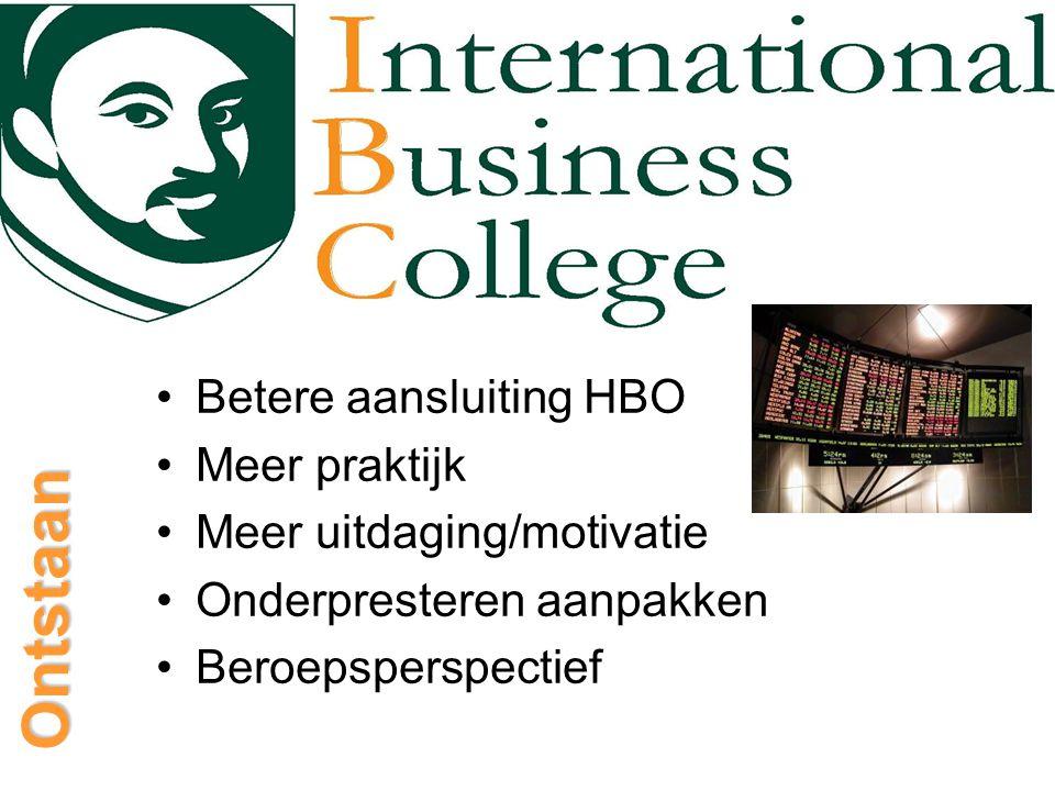Ontstaan Betere aansluiting HBO Meer praktijk Meer uitdaging/motivatie Onderpresteren aanpakken Beroepsperspectief