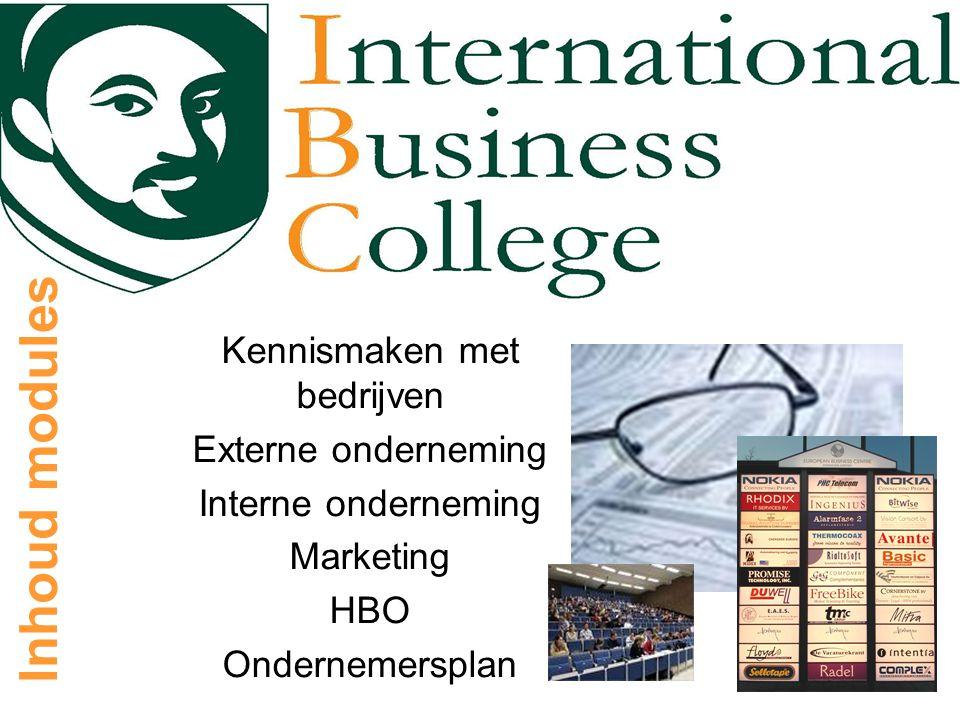 Inhoud modules Kennismaken met bedrijven Externe onderneming Interne onderneming Marketing HBO Ondernemersplan