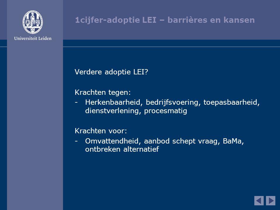 1cijfer-adoptie LEI – barrières en kansen Verdere adoptie LEI? Krachten tegen: -Herkenbaarheid, bedrijfsvoering, toepasbaarheid, dienstverlening, proc