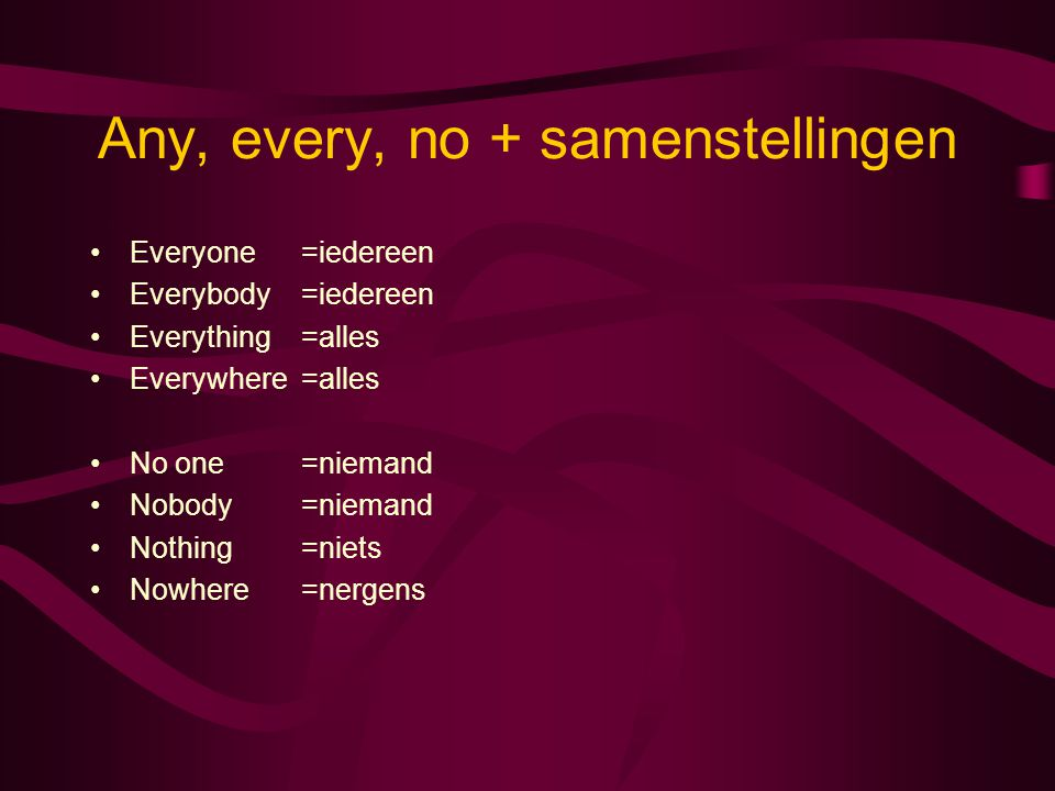 Any, every, no + samenstellingen Everyone=iedereen Everybody=iedereen Everything=alles Everywhere=alles No one=niemand Nobody=niemand Nothing=niets No