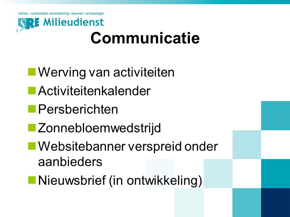 Communicatie Werving van activiteiten Activiteitenkalender Persberichten Zonnebloemwedstrijd Websitebanner verspreid onder aanbieders Nieuwsbrief (in ontwikkeling)
