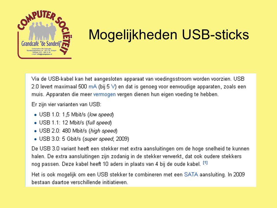 Hoofdfunctie USB-(memory)stick: Opslaan van gegevens (documenten) op een externe gegevensdrager met de bedoeling om deze gegevens op iedere willekeurige computer te kunnen gebruiken.
