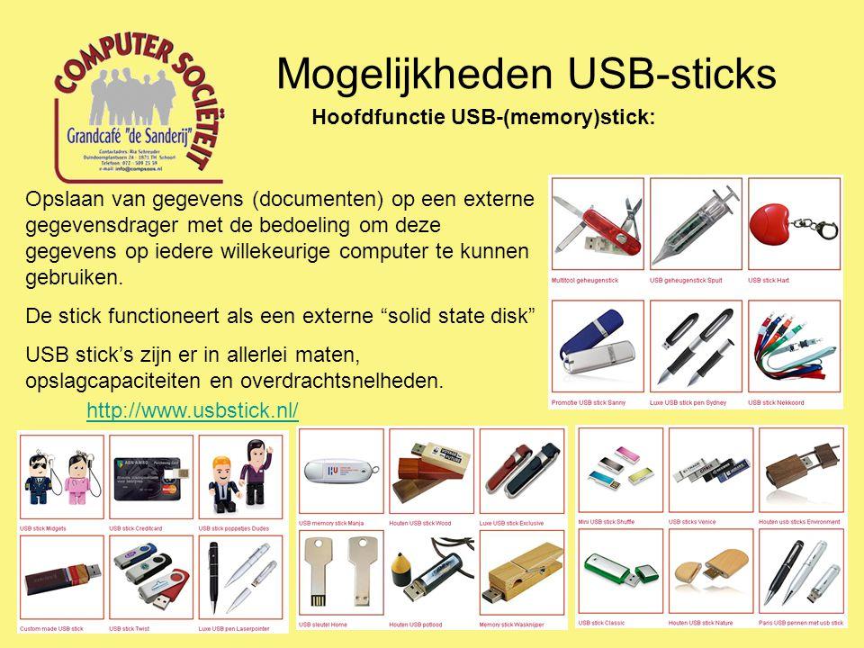Mogelijkheden USB-sticks Enkele Tips en Trucs Grondig wissen Disk Wipe: http://www.diskwipe.org/http://www.diskwipe.org/ Freeraser: http://www.codyssey.com/products/ freeraser.html http://www.codyssey.com/products/ freeraser.html