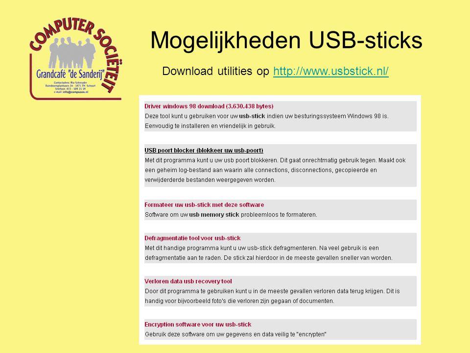 Mogelijkheden USB-sticks Externe programma's uitvoeren Op een USB-stick kunnen ook programma's wordfen opgeslagen die op de computer kunnen worden uitgevoerd zonder dat deze programma's op deze computer geïnstalleerd behoeven te worden.