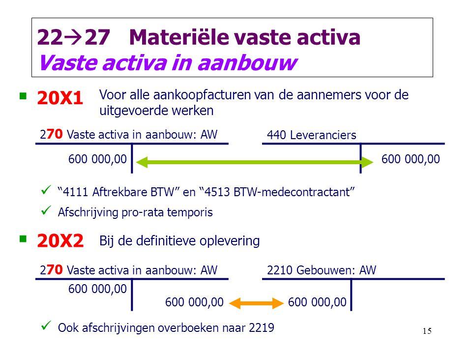 15 22  27 Materiële vaste activa Vaste activa in aanbouw  20X1 Voor alle aankoopfacturen van de aannemers voor de uitgevoerde werken 2 70 Vaste acti