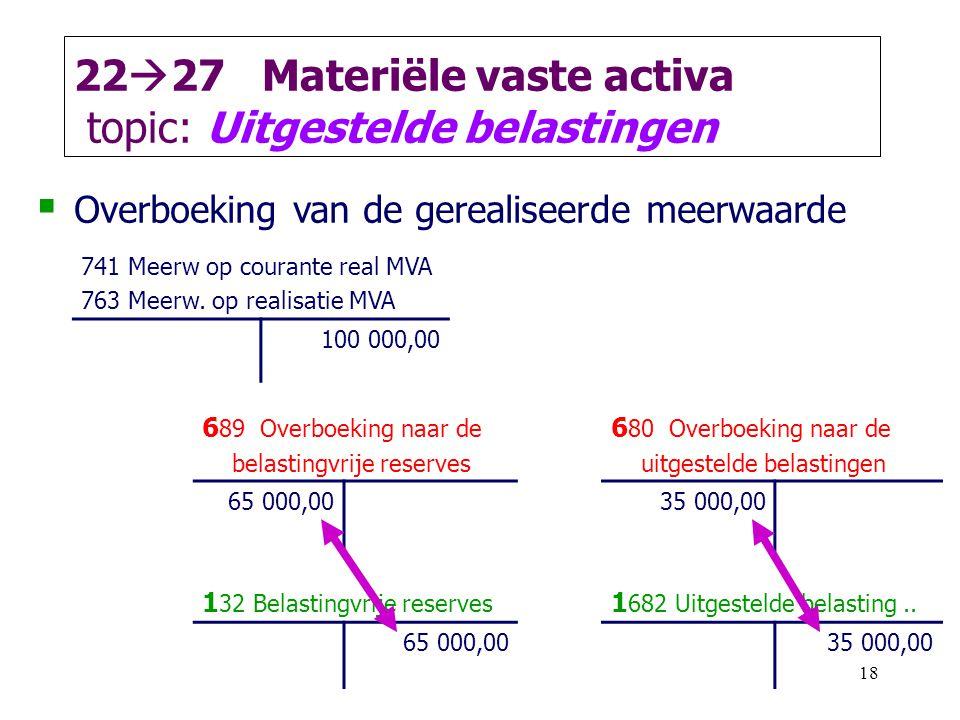 18 22  27 Materiële vaste activa topic: Uitgestelde belastingen  Overboeking van de gerealiseerde meerwaarde 741 Meerw op courante real MVA 763 Meer