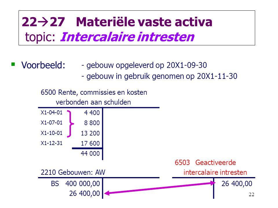 22 22  27 Materiële vaste activa topic: Intercalaire intresten  Voorbeeld: - gebouw opgeleverd op 20X1-09-30 - gebouw in gebruik genomen op 20X1-11-