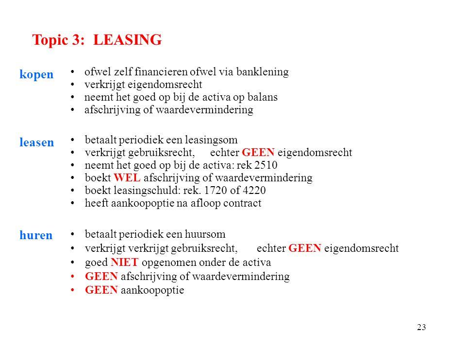 23 Topic 3: LEASING kopen ofwel zelf financieren ofwel via banklening verkrijgt eigendomsrecht neemt het goed op bij de activa op balans afschrijving