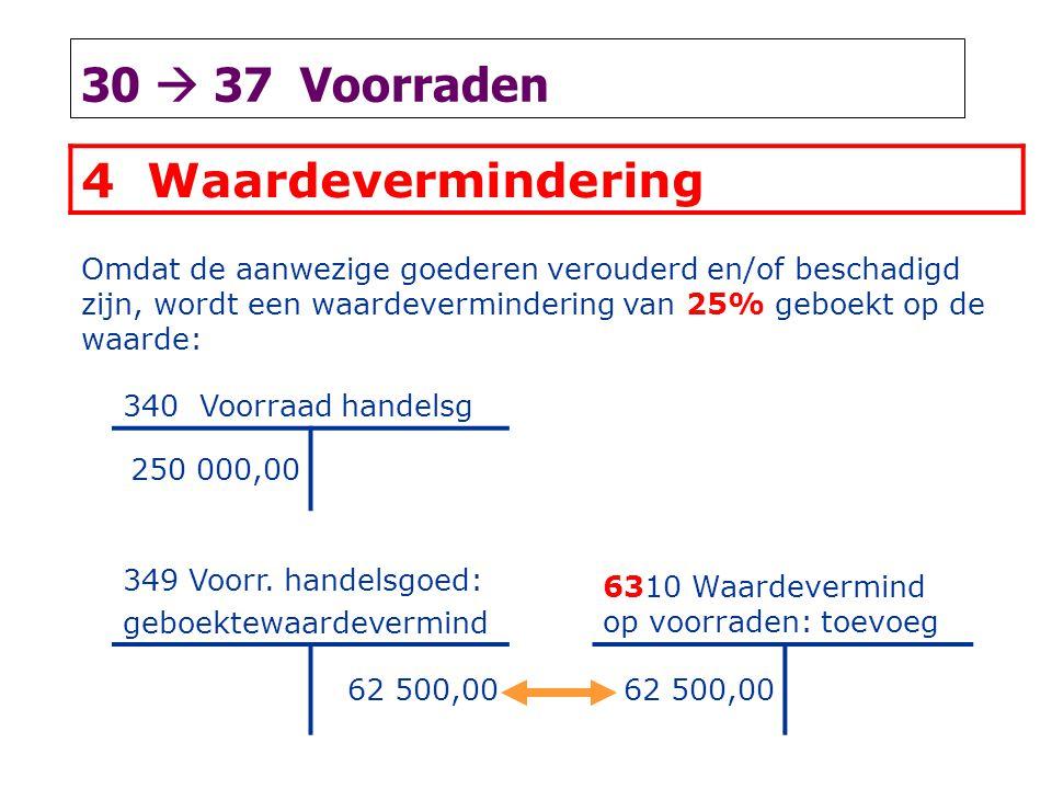 30  37 Voorraden 4 Waardevermindering Omdat de aanwezige goederen verouderd en/of beschadigd zijn, wordt een waardevermindering van 25% geboekt op de waarde: 340 Voorraad handelsg 250 000,00 349 Voorr.