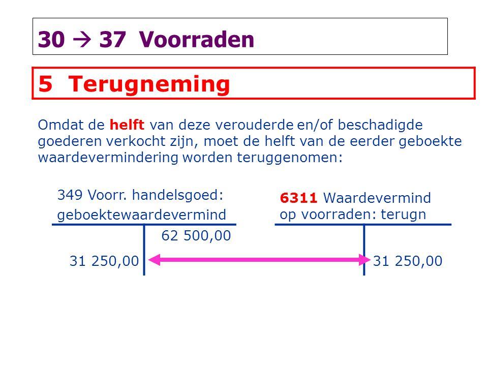 30  37 Voorraden 5 Terugneming Omdat de helft van deze verouderde en/of beschadigde goederen verkocht zijn, moet de helft van de eerder geboekte waardevermindering worden teruggenomen: 349 Voorr.