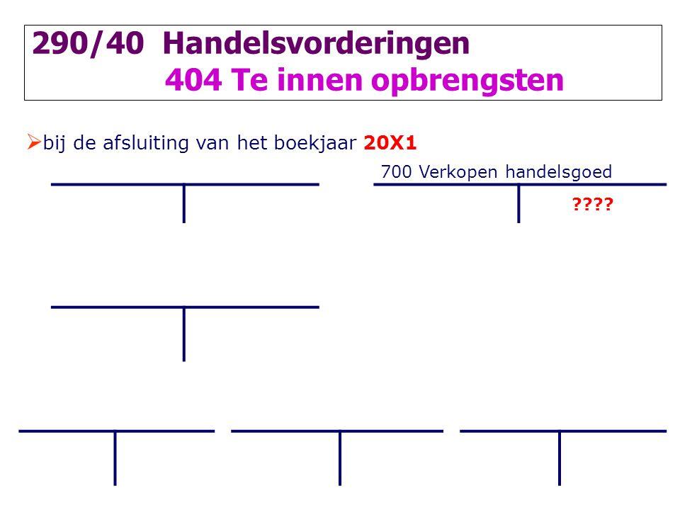  bij de afsluiting van het boekjaar 20X1 700 Verkopen handelsgoed ???? 290/40 Handelsvorderingen 404 Te innen opbrengsten
