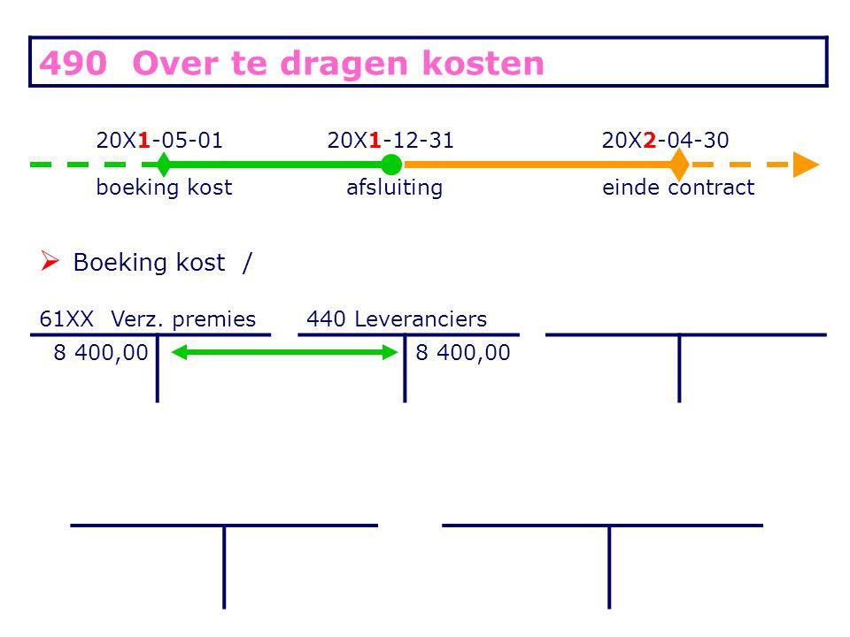 490 Over te dragen kosten 20X1-05-0120X1-12-3120X2-04-30 boeking kostafsluitingeinde contract  Boeking kost / 61XX Verz.